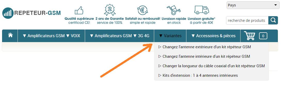 Visuel montrant où trouver les variantes possibles pour n'importe lequel des kit amplificateur GSM 3G 4G
