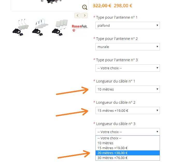 Visuel pour la sélection proposée dans le kit d'extension pour les câbles pour antennes GSM 3G 4G