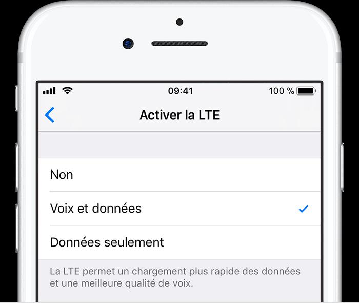 écran de l'iPhone pour la VoLTE activée